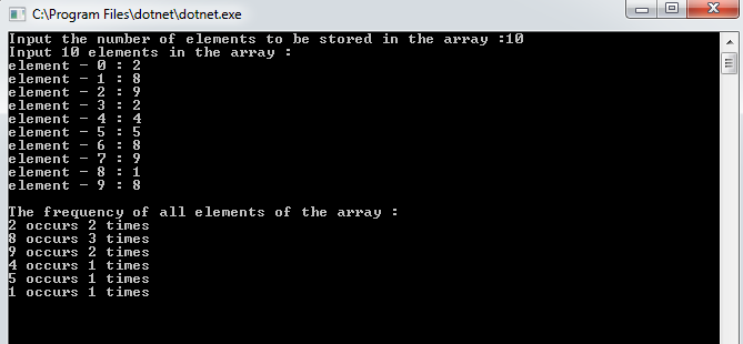 count the frequency of each element of an array